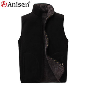 garment manufacturer wholesale polyester waistcoat custom double layer logo men plush sleeveless winter polar fleece vest