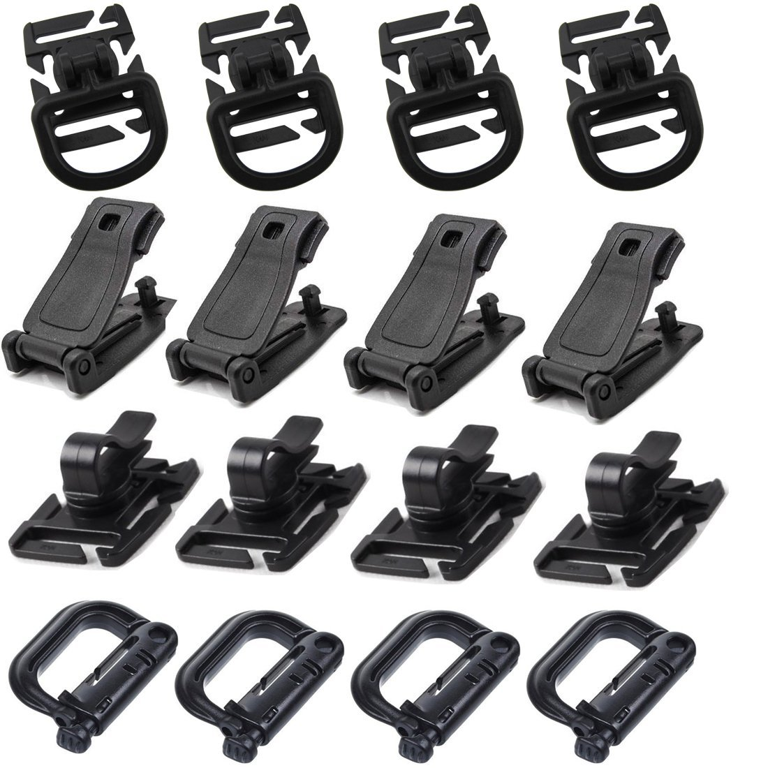 10Pcs Outdoor MOLLE Tactical Webbing Belt Strap Buckle Hanging Clips Carabiner