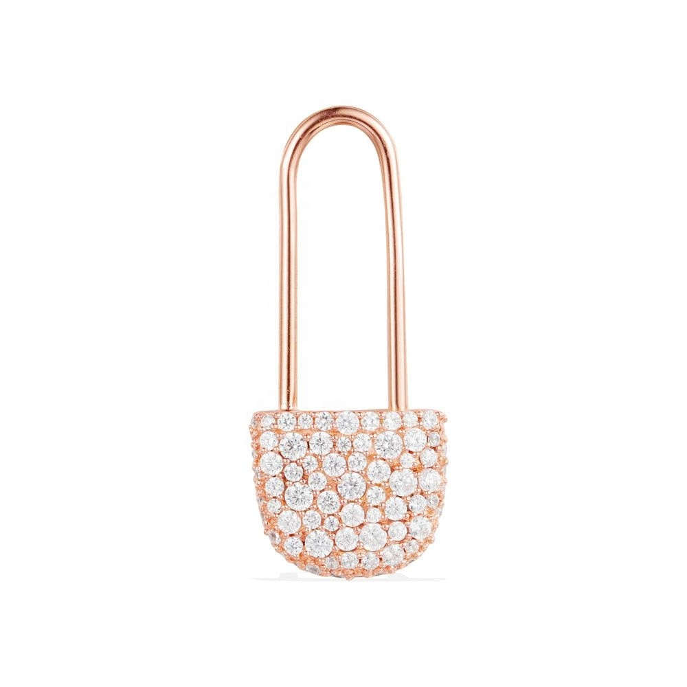 LOZRUNVE Korean Jewelry 925 Sterling Silver Rose Gold Plated Safety Pin Earring Finds фото
