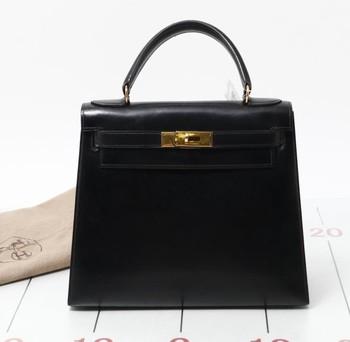 ... 50% off digunakan merek desainer hermes kelly 28 kotak betis hitam  kulit tas dijual massal f1d629b91f