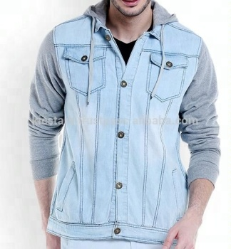 2018 Whole Sale Best Quality Light Blue Fashion Hoodie Denim Jacket