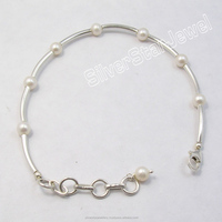 "925 Silver Tubes & Pipes FRESH WATER PEARL Beads UNUSUAL Expandable Hand Bracelet 7.7"" !! Jewelry for Her !! Gift For Fiance"