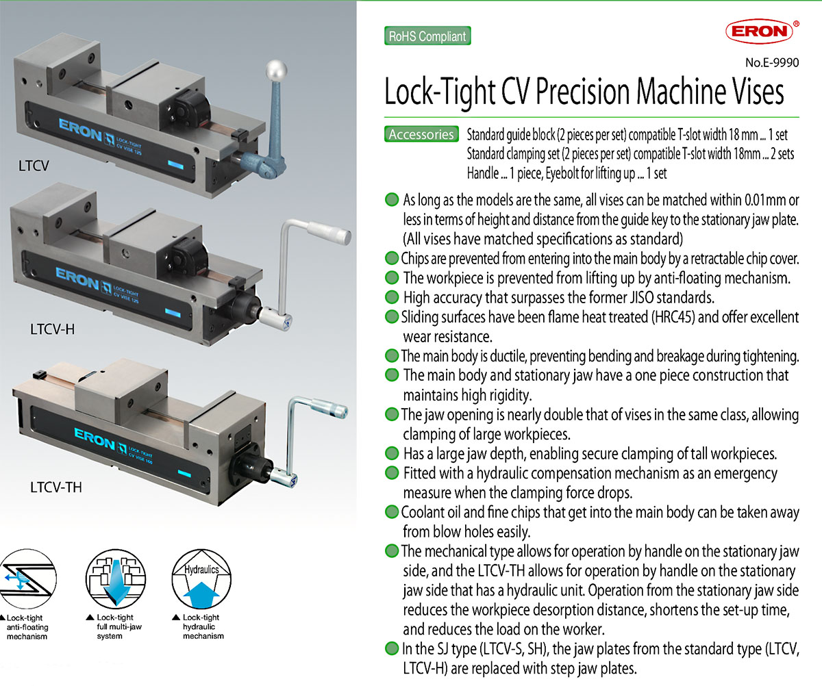 NABEYA LOCK-TIGHT CV SERIES  PRECISION MACHINE VISES  LTCV-TH 160-200