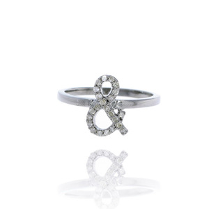 New Arrivals Wholesale Pave Diamond Initial Ring 925 Sterling Silver Party Wear Jewelry