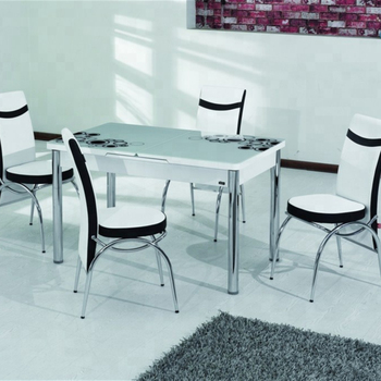 Dining Table 6 Chairs Gl Face Adjule Size Smart Furniture Economic Price High Quality Turkish