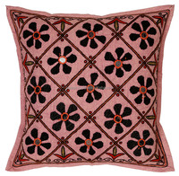 Handmade Coral Pink Floral Patch And Mirror Work Cotton Cushion Cover