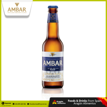 Non Alcoholic Gluten Free Lager Beer from Oldest Brewery in Spain | AMBAR0,0 Celiacos Bottle 33cl (24 units) | La Zaragozana