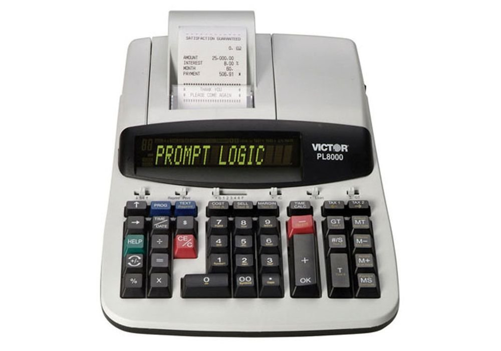 """Desktop Calculator With 14-Digit Backlit Display White Plastic Dimensions: 8.75""""W X 13.5""""D X 4""""H Weight: 6 Lbs"""