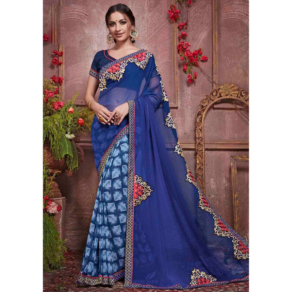 latest Bridal Wear Women's Lace Border Georgette Blue Half & Half Saree