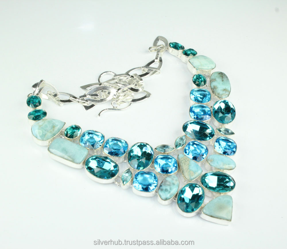 Wholesale 925 Sterling Silver Overlay Larimar Handmade Fashion Metal Necklace