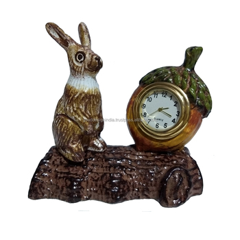 Metal Rabbit Table Clock Corporate Gifted Item and Diwali Gifted Unique Design Clock Hot selling Item