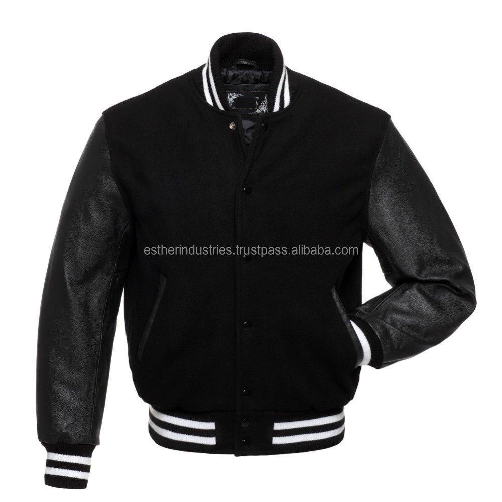 Design Custom Jackets Letterman Baseball Varsity Jacket Full Wool Black with White Strips