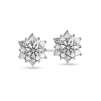 High Quality 14k Gold Diamond Earrings Pnj Brand Vietnam