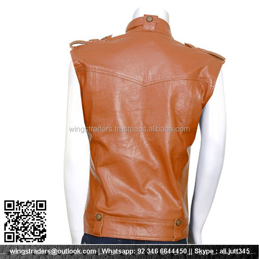 Brown Soft Pure Sheep Skin Motorcycle Leather Vest