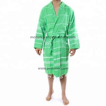 Encapuchado Vestido De Vestir Para Hombres Y Mujeres Verde Brillante Etiqueta Privada Playa Baño Hammam Robe Para Hoteles Y Casa Uso 100 Algodón