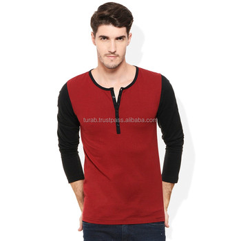 Wholesale Cheap Plain red Cotton Long Sleeves custom printed Men's T Shirt
