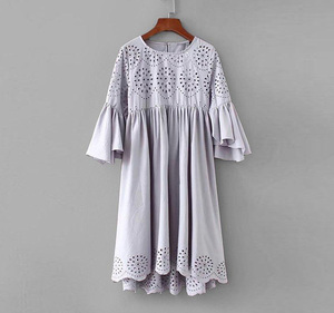 Plus size women casual dress Cotton linen eyelet embroidered babydoll dress Custom loose falbala dress
