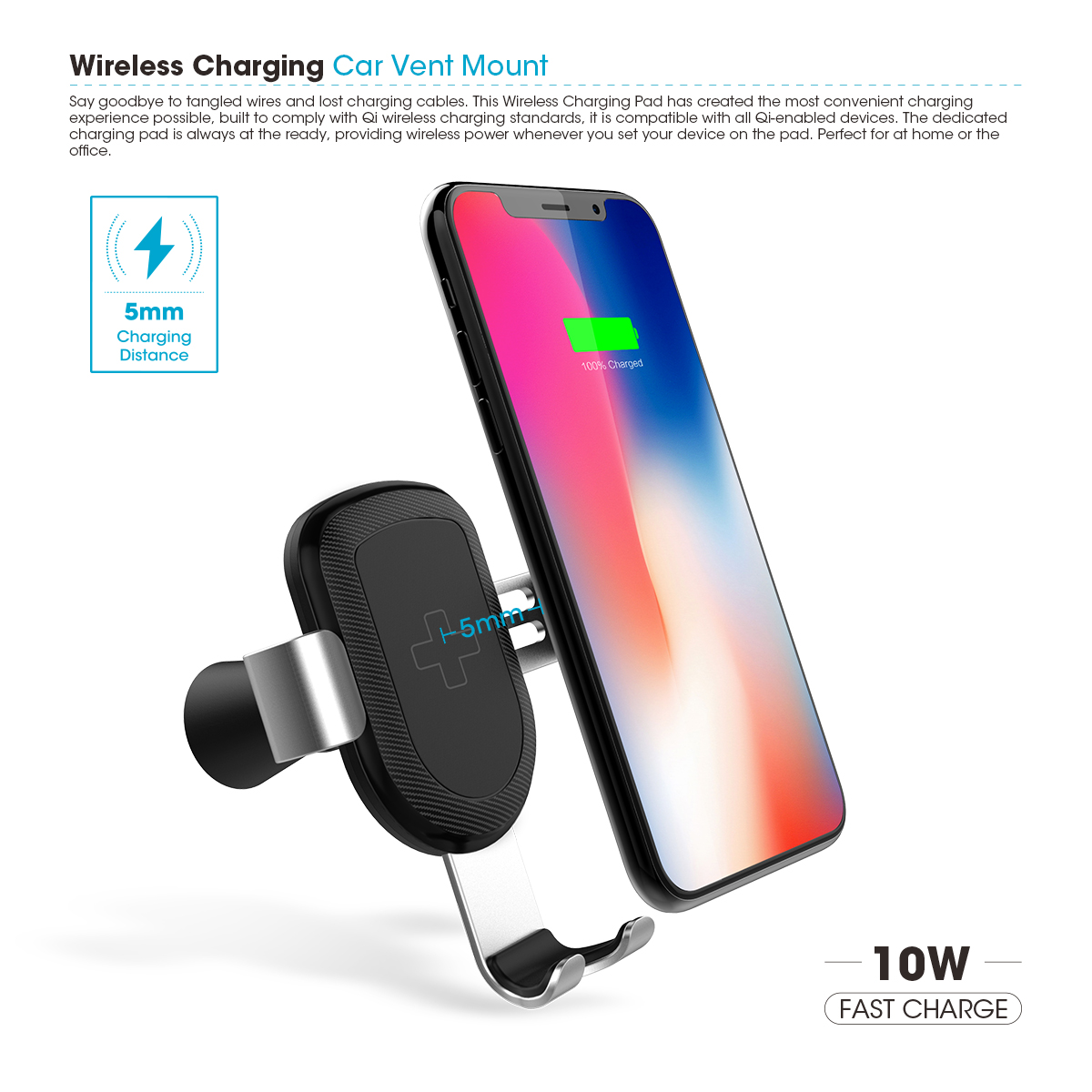 iFans Fast 10W  Qi Wireless Charger Stand Wireless Car Charger Mount