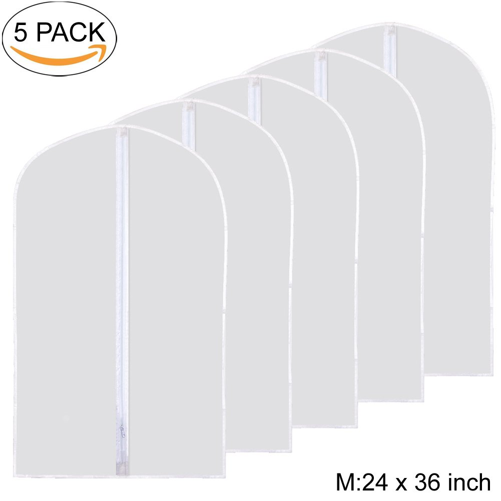 Garment Bag, Kathy Moth Proof Garment Cover Clear Dustproof Breathable Full Zipper Suit Bag Pack of 5, White