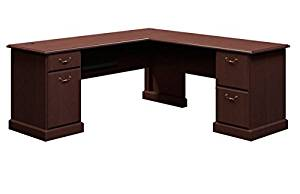 "Bush 72"" L Shaped Writing Desk 30 3/4""H X 72 1/4""W X 72 1/4""D Work Surfaces 72.25"" X 23.13"" & 42.25"" X 24""      - Mocha Cherry"