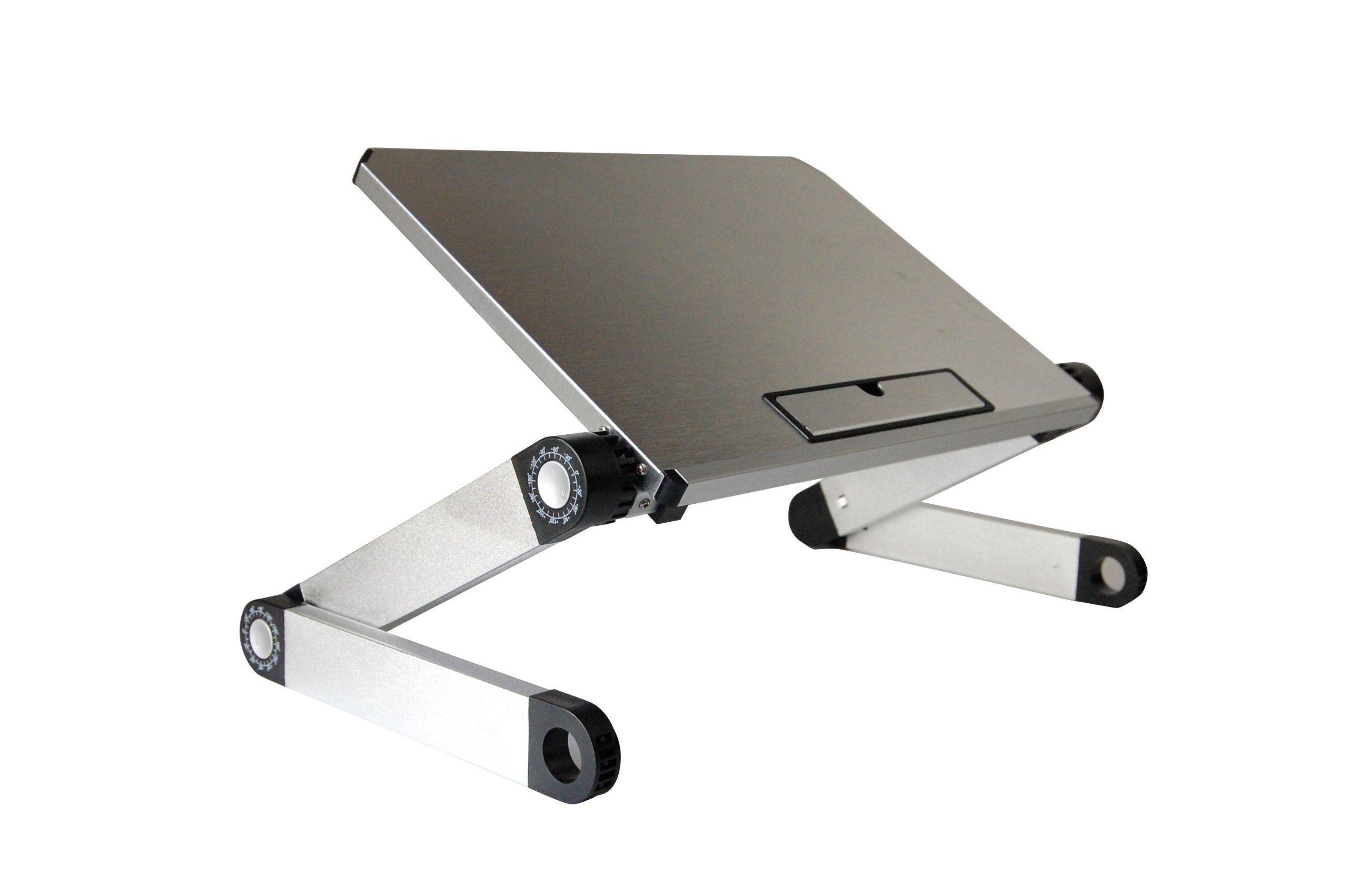 WorkEZ Light Ergonomic Portable Lightweight Aluminum Laptop Cooling Stand. Folding Adjustable Height & Angle Notebook Computer Riser Cooler Lap Desk