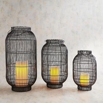 Black Set of 3 Pieces Decorative Hurricane wire lantern for candle