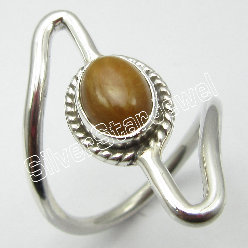 925 Sterling Silver TIGER'S EYE HANDMADE Rings Size 5.5 Jewelry for Her Fashion Traditional Gem Nickel free Jewelry Designs