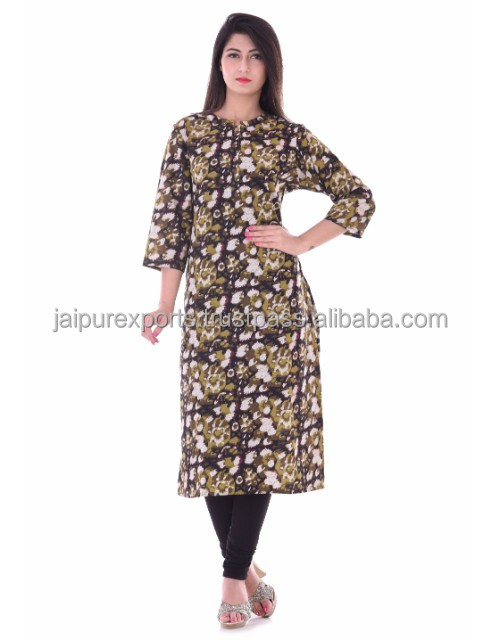 Designer cotton block printed kurti For Women