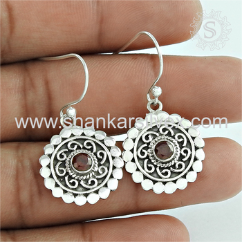 Beautiful design silver earring red garnet gemstone 925 sterling silver earrings jewelry exporter jaipur