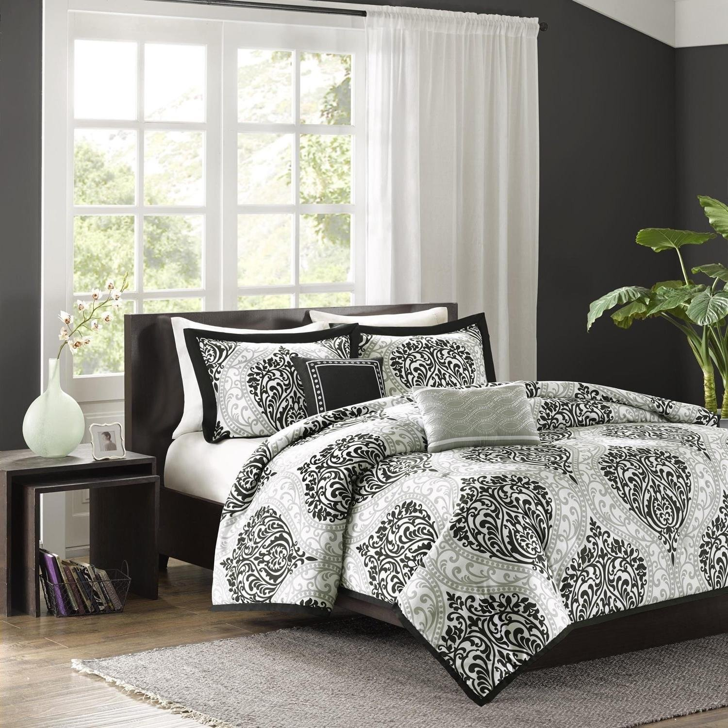 Get Quotations Unk 5pc Black Grey Damask Fl Duvet Cover King Cal Set California