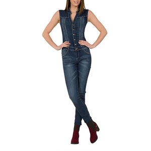 60ed25652e8 2019 Women Jumpsuit sexy sleeveless cultivate one s morality Jeans  Jumpsuits Casual Denim Overalls Womens Rompers
