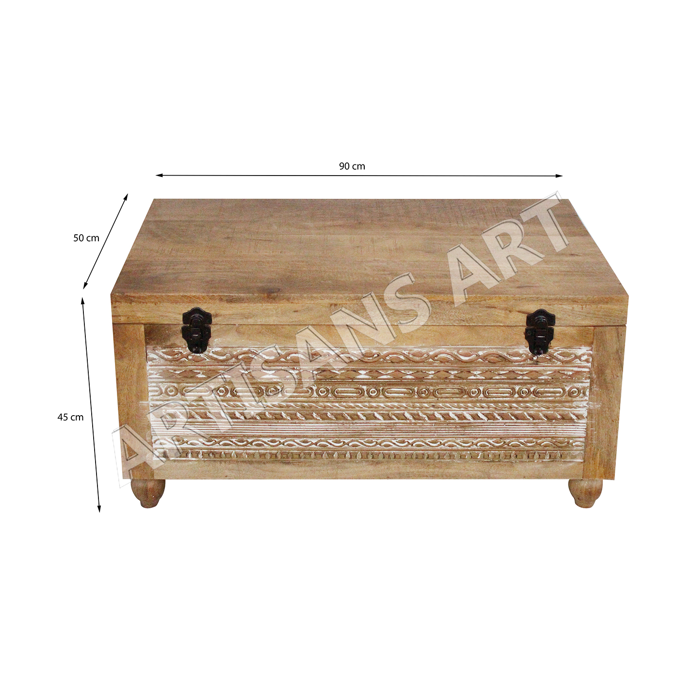 Hand Carved Storage Trunk Box Ethnic Furniture Designs Indian Solid Wood Bed Room Antique Coffee Table