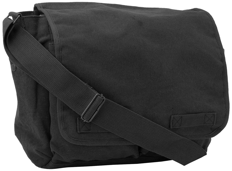 Black Original Heavyweight Classic Messenger Shoulder Bag with Army Universe  Pin 16d47134663
