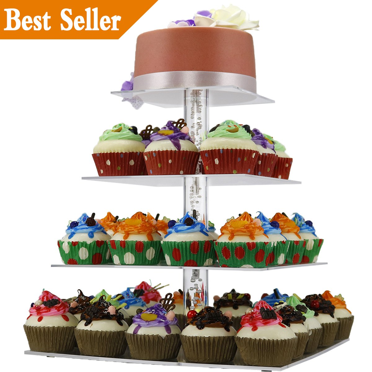 DYCacrlic Cake Stand,2018 New Style 4 Tier Square Cupcake Stand,Clear Acrylic Stacked Party Cupcake Tree,Tiered Cupcake Tower for Wedding,Happy Birthday,Parties