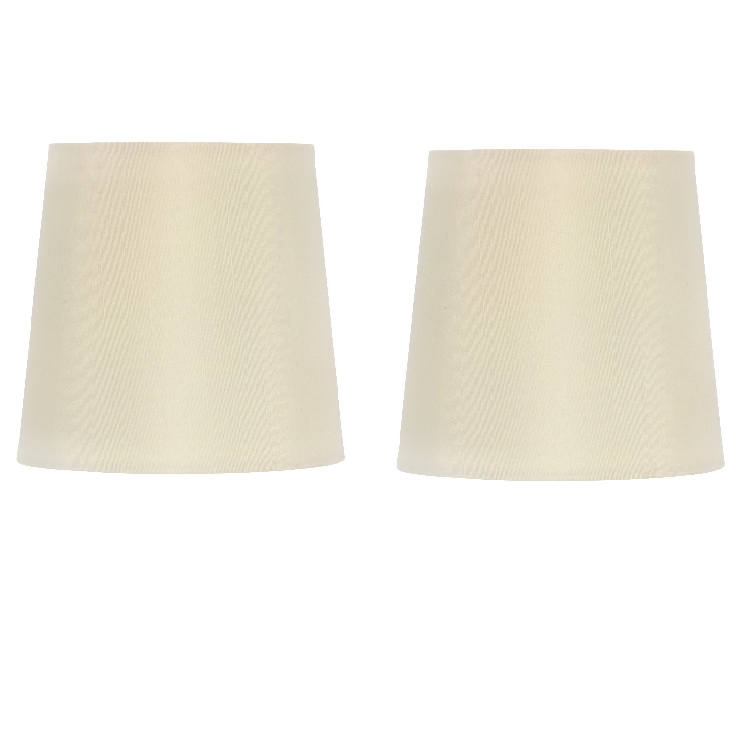 Upgradelights Eggshell Retro Drum 5 Inch Clip On Chandelier Lamp Shade (Set of 2) 4x5x5