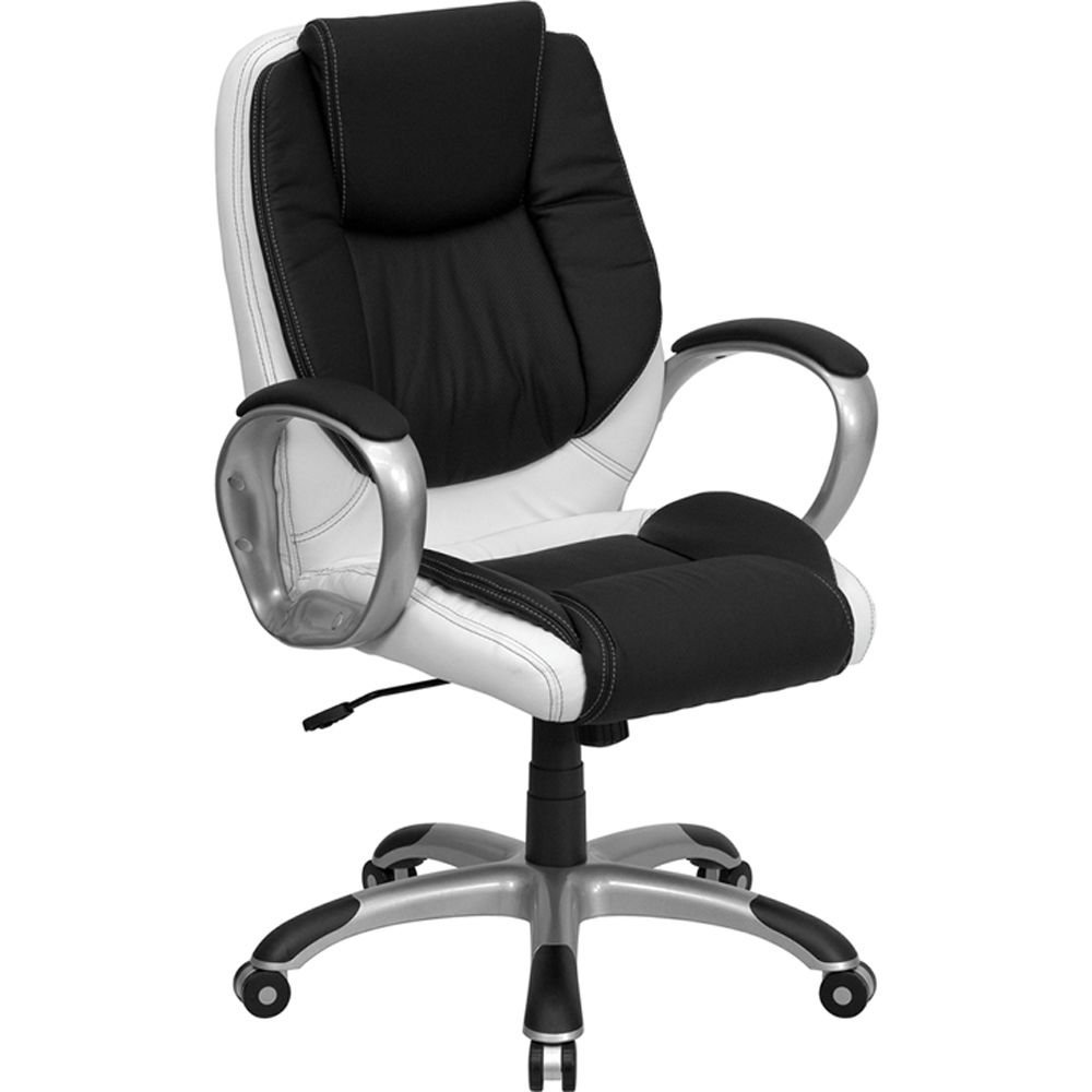 "Elmwood Two-Tone Task Chair in Bonded Leather Black & White Bonded Leather Seat & Back/Titanium Nylon Base Dimensions: 28""W x 28""D x 39.50-42.50""H Seat Dimensions: 19""Wx19""D Back Dimensions: 20""Wx24""H"