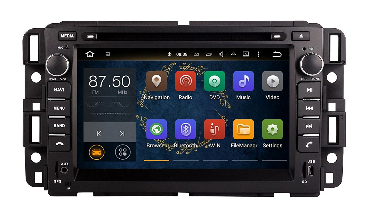 XTTEK 7 inch HD 1024x600 Multitouch Screen Car GPS Navigation System for GMC Yukon Chevrolet Tahoe Chevrolet Suburban 2007-2014 GMC Acadia 2007-2012Buick Enclave 2008-2012 Quad Core Android DVD Player