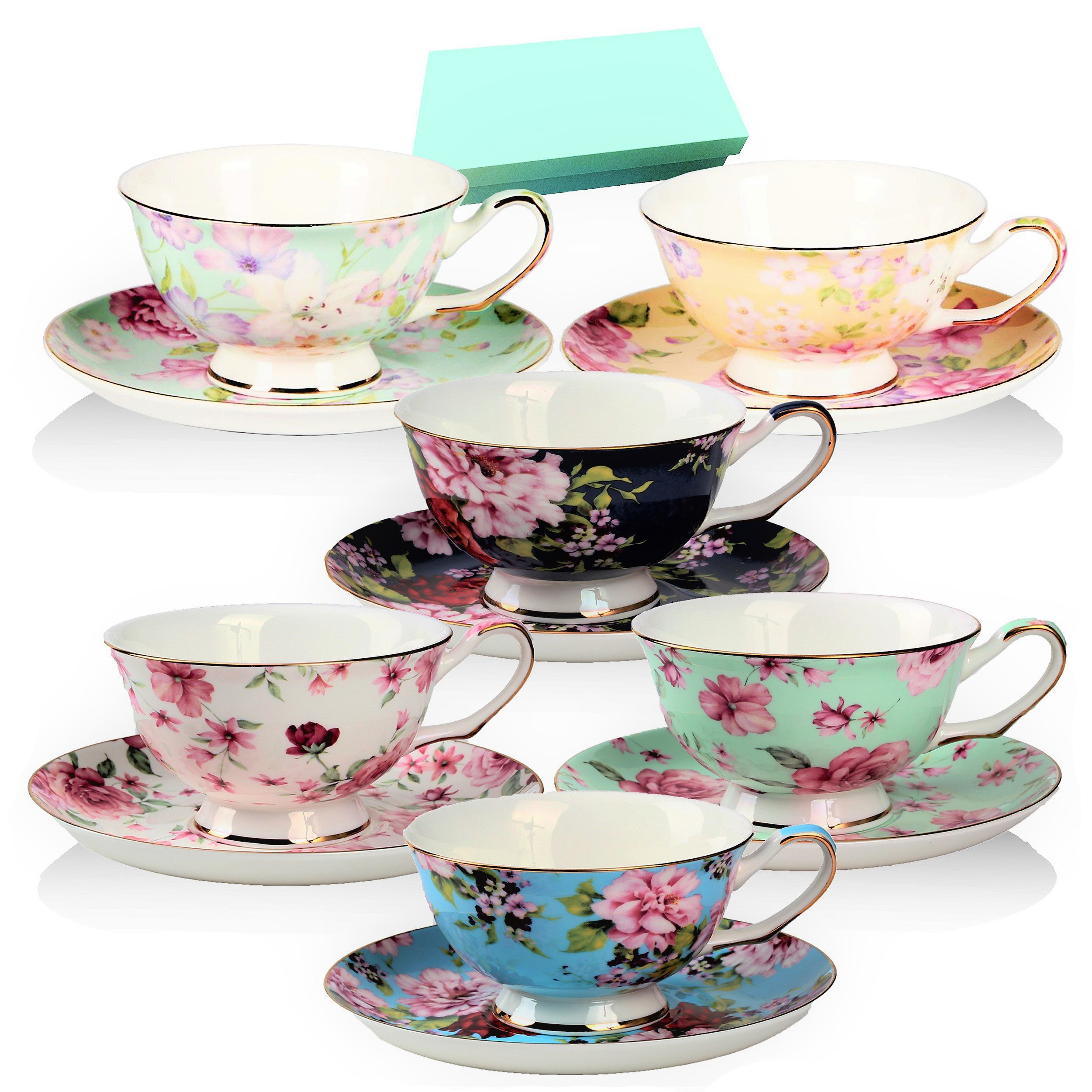 BTäT- Tea Cups, Tea Cups and Saucers Set of 6, Tea Set, Floral Tea Cups (7oz), Tea Cups and Saucers Set, Tea Set, Porcelain Tea Cups, Tea Cups for Tea Party, Rose Teacups, China Tea Cups (Bone China)
