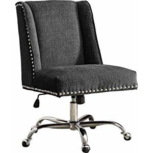 Office Chair, Multiple Finishes, Office Furniture, Stylish Desk Chair, Metal Casters, Plush Frame, 100 % Polyester, Home/Office Workplace Chair, Indoor Furniture, Desk Chair, BONUS e-book (Charcoal)
