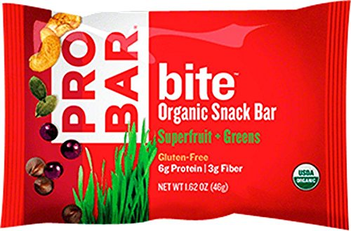 PROBAR - bite Organic Energy Bar - Superfruit + Greens - USDA Organic, Gluten-Free, Non-GMO Project Verified, Plant-Based Whole Food Ingredients, 6g Protein, 3g Fiber - Pack of 12