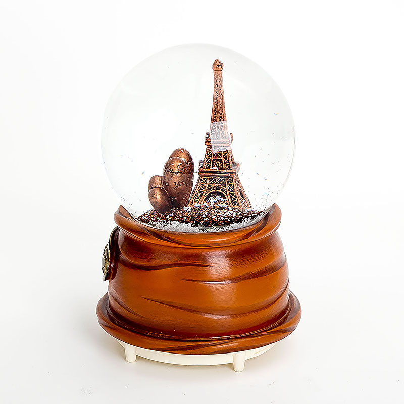 Lighted And Music Snow Globe Paris France Eiffel Tower Souvenirs Heart Shape Snowball With Auto Spraying Snow Function 100mm