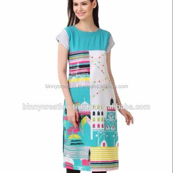 02168e9327 Indian Designer Digital Print American Crepe Kurti - Buy W Kurti,Kurti ...