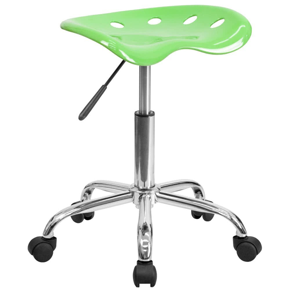 Apple Green Office Stool with Tractor Seat and Chrome Frame By TableTop king