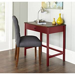 Small Compact Curved Desk, Office Furniture, Curved, Deep Walnut Top Panel FInsih, Painted Body, Home Furniture, Computer Desk with One Drawer, Office Desk, Work Desk, BONUS e-book (Red)