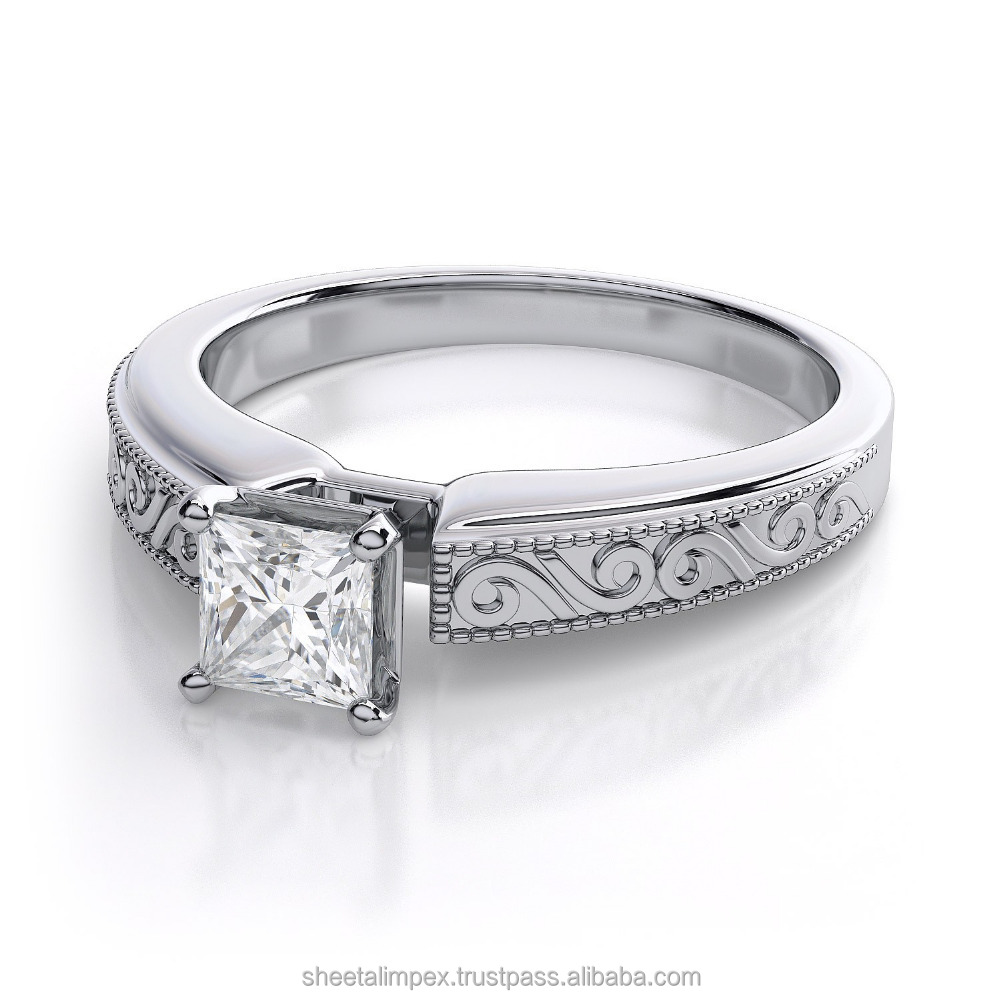 Certified 1.00 Carat VS2 Clarity Real Natural White Princess Cut Diamond 18Kt White Gold Engagement Ring at Factory Price