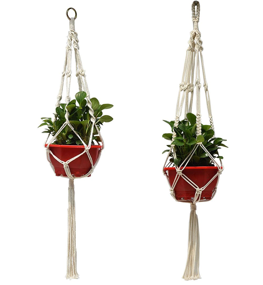 2pcs Plant Hanger Natural Cotton Rope Crochet Basket Flower Pot Net Holder Container Hanging,Macrame Indoor Outdoor Hanging Planter Rope 4 Legs 105cm/41inch