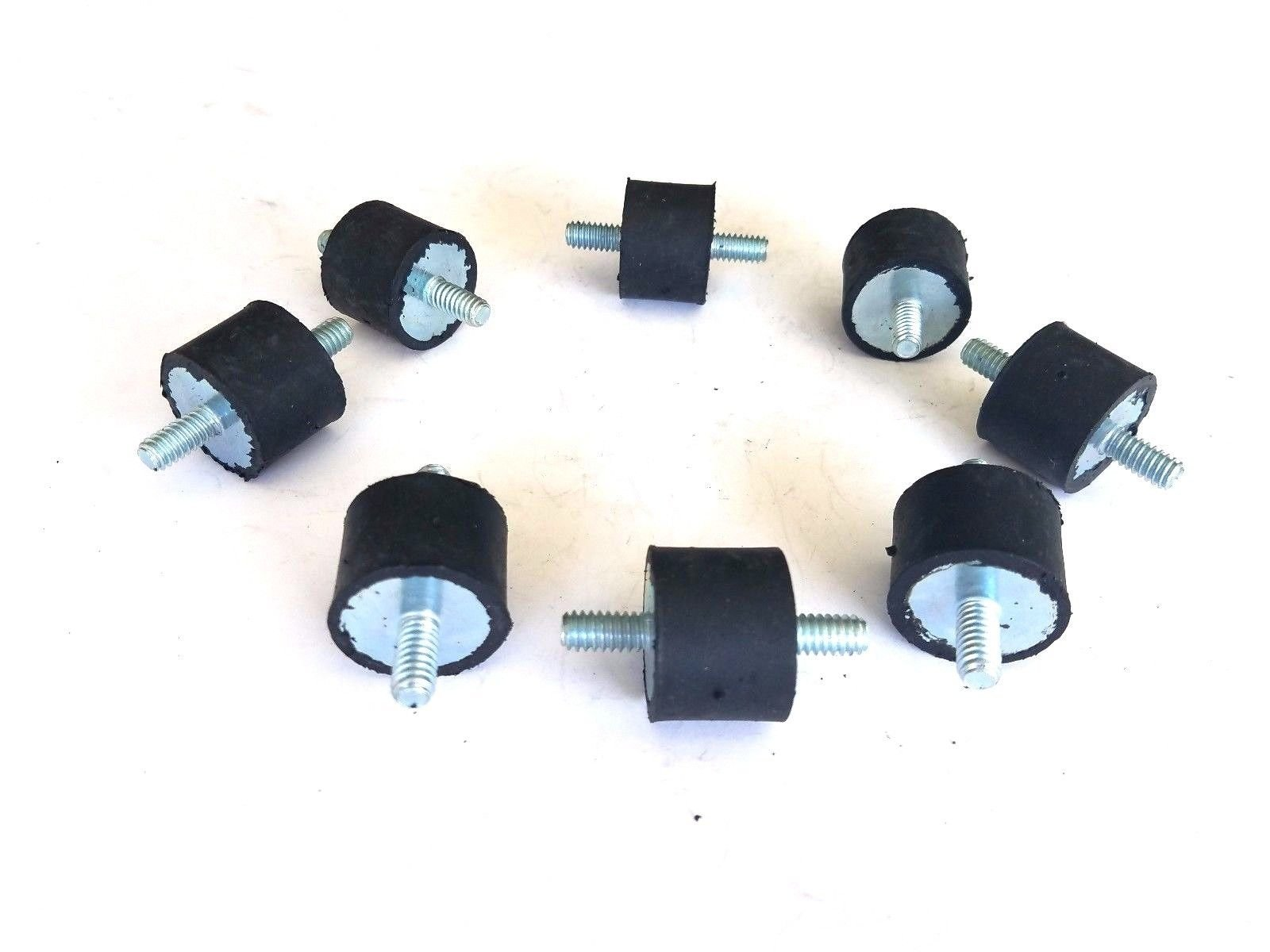 "8 Rubber Vibration Isolator Mounts (Studs 1/2"" H 1/4"" D)(Rubber 3/4"" H 1"" D)"