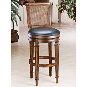 "Hillsdale Furniture 61908 Dalton 39"" Leather Upholstered Cane Back 360 Degree Swivel Counter Stool with Wood Frame in Distressed"