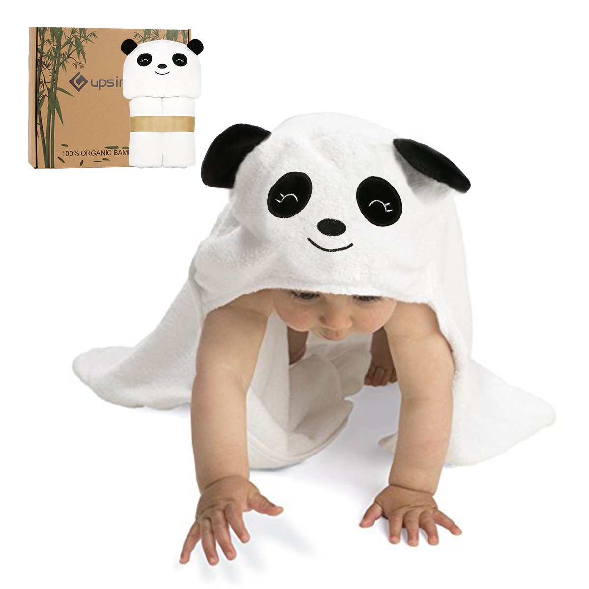 Baby Hooded Towel Upsimples Panda Face Baby Hooded Bath Towel 3838 Inches Ultra Large 500GSM Ultra Soft Organic Bamboo Baby Towel for Baby Infant Toddler Baby Shower Gift Photo Shoot Props