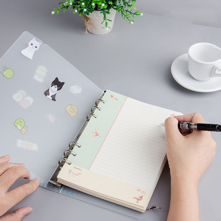 Recyclable Waterproof Transparent Notebook Cover Document Folder Ribbon Binding Loose-leaf a5 ring Binder